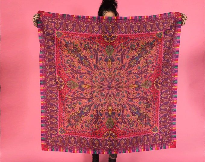 "Dianne Von Furstenberg Large Square Bandanna Scarf  - Large 47"" Big Square Spring Layer Accessory Bandana - Pink Paisley printed Neckerchief"