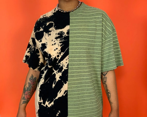 90's Upcycled Mixed Prints Reconstructed T-shirt Adult XL Plus - Remade Tie Dye Striped Weird Mixed Prints 1 of 1 Split Grunge Streetwear