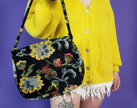 70s Vintage Tapestry Purse - Floral Print Cloth Fabric Purse - 1970s Vintage Navy Blue Flower Pattern Tapestry Handbag Shoulder Bag