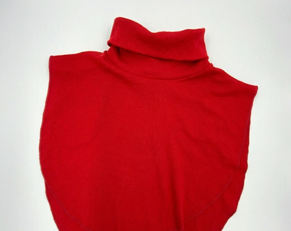 80s/90s Red Turtleneck Dickey One Size - Fall Winter Vintage Collar High Fold Down Turtleneck Fashion Accessory - Casual Basic Add On Collar