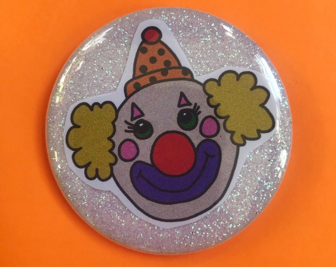 "2.25"" Pinback Button - Glittery Collages Creepy Clown Large Button - Handmade Weird Round Girly Pin - Sad Clown Colorful Girly Accessories"