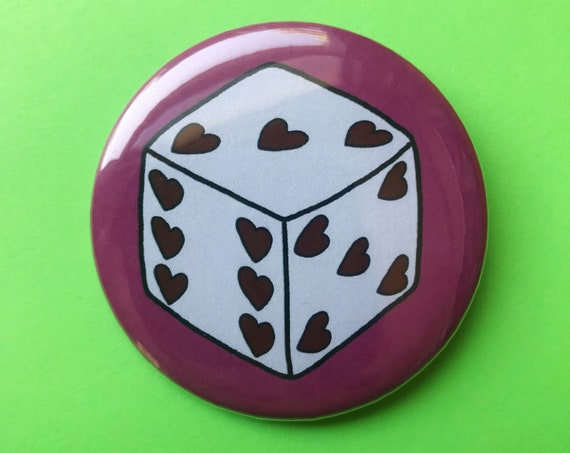"2.25"" Lucky Dice Pinback Button Pin Large Hot Pink Trendy Statement Pinback Button/Badge - Handmade Hand-drawn Big Dice Girly Buttons Gift"