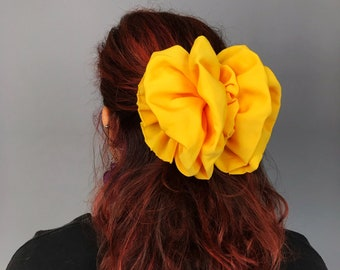 90's Giant Yellow Hair Bow French Clip - Vintage BIG Statement Bow Clip Sunshine Yellow Bow Clip - Hipster Preppy Accessory Girly Barrette