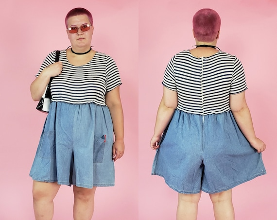 90's One Piece Denim Shorts Romper 2XL Plus Size Vintage - Casual Striped Ribbed Top Shorts Playsuit XXL - Spring Denim Stretchy Shorts Suit