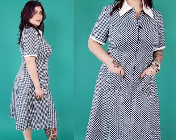1970s Vintage MOD Mini Dress Extra Large - 70s Plaid A-Line Collared Day Dress - True Vintage Retro Fashion Zip-Up Minidress