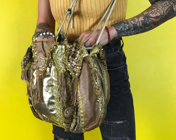 70's/80's Rita Diana For Mylinka Designer Purse - Hrinestone Glam Golden Slouchy Leather Drawstring Purse - Gold Glam Rare VTG Statement Bag