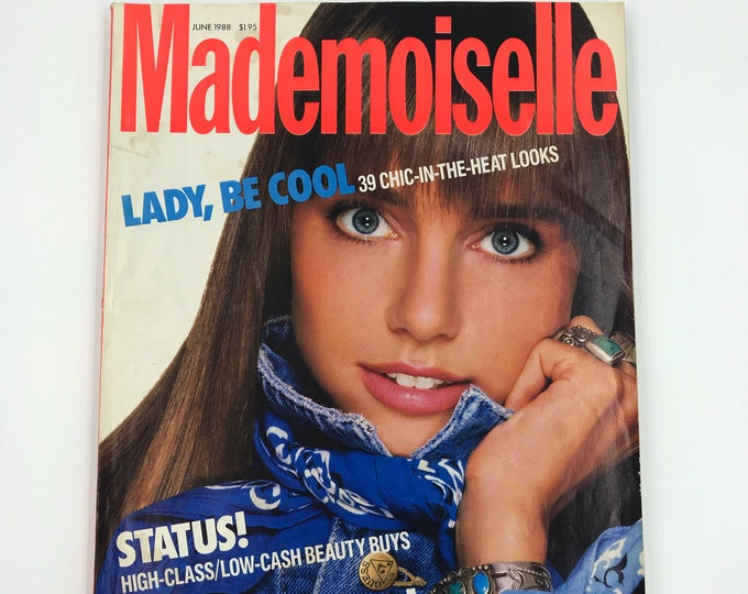 "89' Mademoiselle Magazine Vintage ""Lady, Be Cool"" June Issue - Eighties Hair Trends Swimsuit SOS Beauty Tips Vintage NY Fashion Magazine"