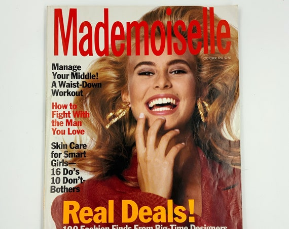 90's Mademoiselle Magazine Vintage Fall October Issue - Nineties Trends Magazine Retro Reading Beauty Tips Vintage NY Fashion Style Magazine