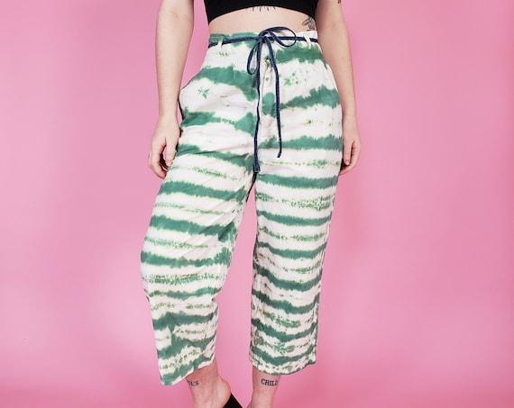 Upcycled Green & White Tiedye Loose Fit Pants - 80s Vintage Highwaisted Pant Medium - Womens Retro Wide Leg Tie Dye Stripe Pattern Pants