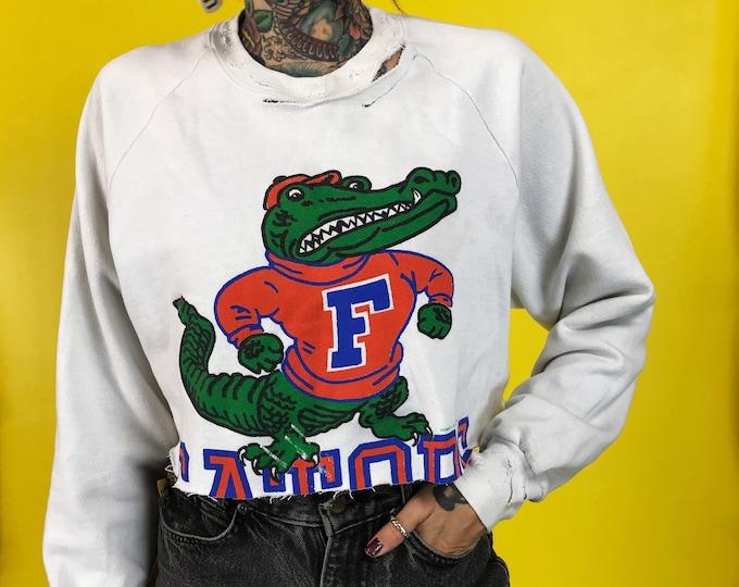87' Retro Florida Gators Destroyed Distressed NFL Raglan Sleeve Sweatshirt Womens Medium - Vintage Graphic Football Sportswear True Vintage