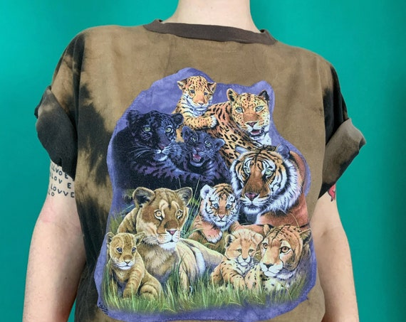 Upcycled Jungle CATS Patched 90's Tie Dye Tee Adult XL Plus - Reworked VTG Bleach Funky Tiger Graphic Tee Shirt - Unique 1 of 1 Streetwear