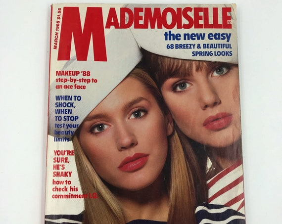 1988 Mademoiselle Fashion Magazine March Issue - Vintage New York Young Womens Rare Fashion Magazine - Spring Looks Horoscope Beauty Q&A