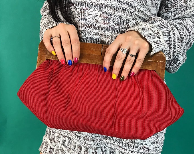70's Cherry Red Corduroy Clutch Handmade Wooden Handle Statement Handbag -  Retro Hinge Clutch Bag - BOHO Minimalist Unique Triangle Shape