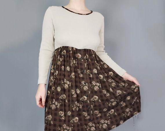 90's Raw Hem Babydoll Mini Dress Medium Large - Long Sleeve Plaid Floral Casual Vintage Everyday Dress - Loose Fit Raw Hem Fall Dress