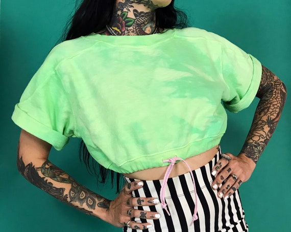 90's Neon Green Tie Dye Drawstring Waist Cropped Pullover Sweat Top Small - Upcycled Vintage Short Sleeve Hand Dyed Unique Casual Crop Top