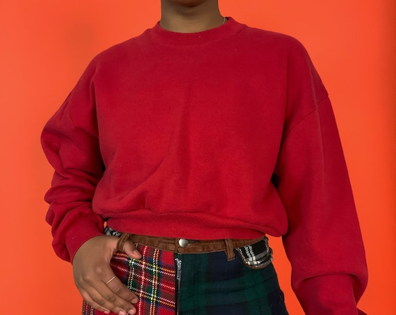 Vintage Reworked Basic RED Cropped Pullover Sweatshirt Medium - 1990's 1 of 1 UNIQUE Casual Slouchy Pullover Sweater - Upcycled Eco Fashion