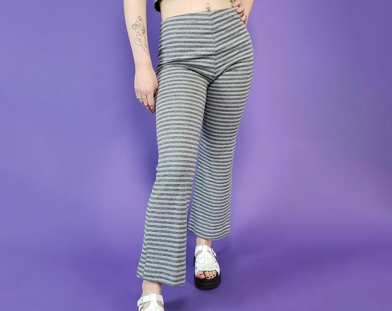 90s does 70s Handmade Stretch Flare Pants Small Medium - Gray Stripe Retro Vintage Flare Leg Pant - Kick Flare Stretchy Striped Womens Pants