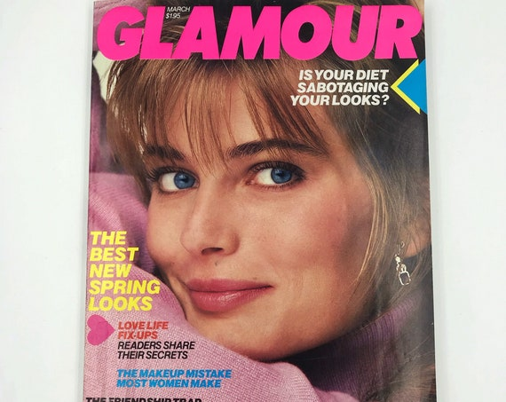 1987 GLAMOUR Fashion Magazine March Issue - Rare Vintage New York Womens Iconic Fashion Magazine - Spring Looks Horoscope Beauty Q&A Makeup