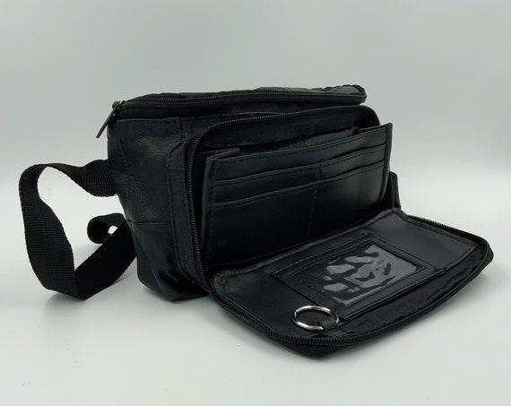 90's Black Leather Fanny Pack Belt Bag - Soft Leather Minimal Unisex Black Belt Bag Bum Bag - Messenger Mini Travel Hip Belt Bag Zip Pouch