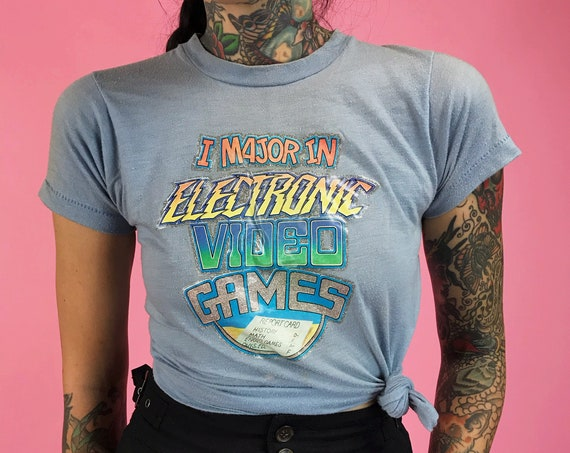 "80's VIDEO GAME Retro 50/50 Single Stitch Tee Womens XXS - Paper Thin ""I Major In Electronic Video Games"" - Rare Pastel Glitter Graphic"