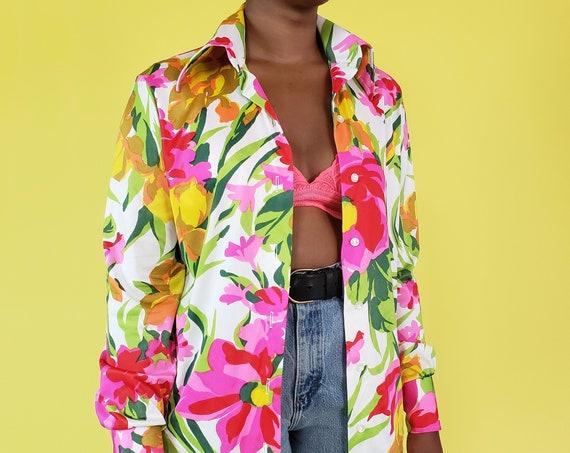 70s Long Sleeve Floral Blouse Medium - 1970s Hot Pink Flower Print True Vintage Shirt - Nylon Polyester Dagger Collar Button Front Top