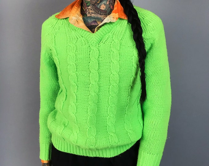 60's Vintage Neon Green Cable Knit Pullover Womens XS/S - Thick Soft RARE True Vintage Acrylic Bright Fluorescent Slime GREEN Knit Sweater
