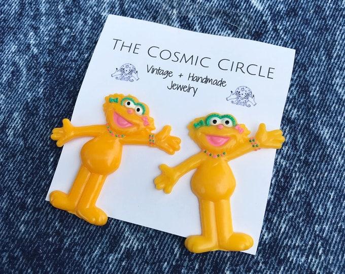 Muppet Zoe Ballerina Oversized Fun Plastic Statement Cartoon Earrings - Girly Girls Trendy Costume Jewelry Giant Yellow Upcycled Handmade