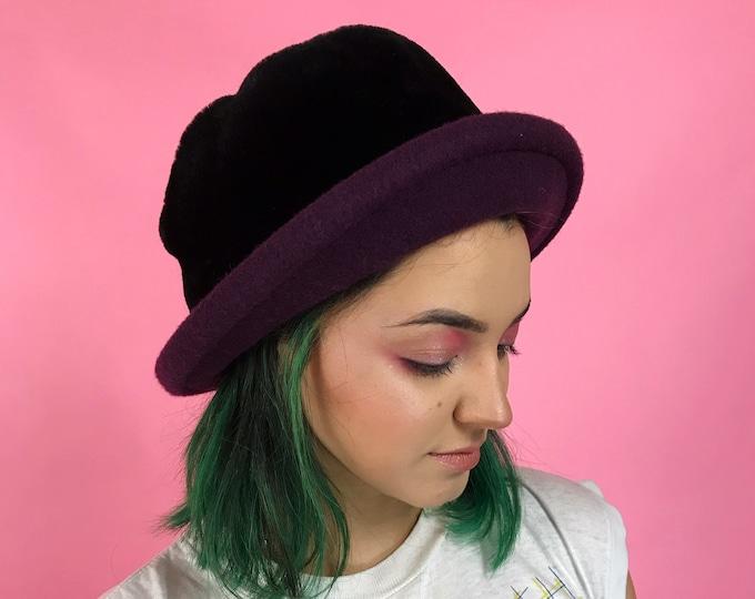 Vintage 80's Faux Fur Bucket Hat - Purple Black Fuzzy Furry Brim Bucket Hat - GRUNGE Furry Womens Wool Nineties Trend Fashion Top Hat