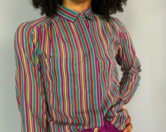 80's Blouse Allover Print Vertical Striped Collared Shirt - Long Sleeve Dressy Girly VTG Button Up Retro Top - Modest Fashion Polyester Top