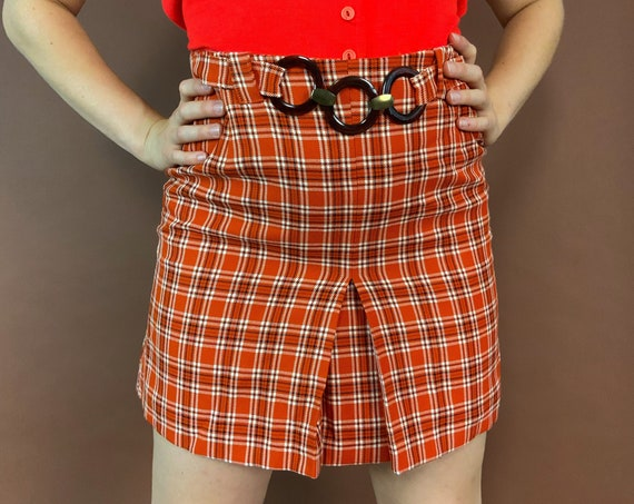 "90's Plaid Mini Skirt Size 29"" High Waist - Vintage Preppy Tartan Pleated Fall High Waisted Miniskirt W/ Belt in Front - Burnt Orange Brown"