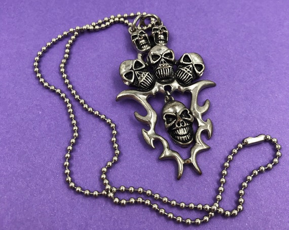 Y2K 2000's Goth Tribal Skull Ball Chain Necklace Long Unisex Silver Tone Biker Necklace - Long Statement Necklace Industrial GOTHIC Metal