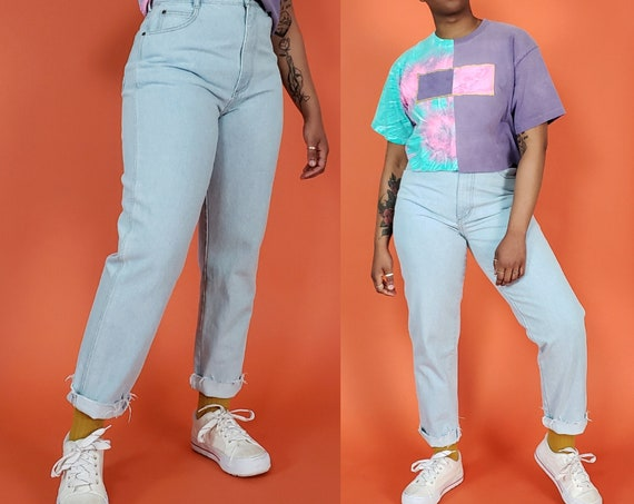 90's Light Wash Mom Jeans 10 Medium - Vintage 1990's Raw Hem Pastel Grunge Jeans - Classic Highwaisted 90s Vtg Denim 29 Waist