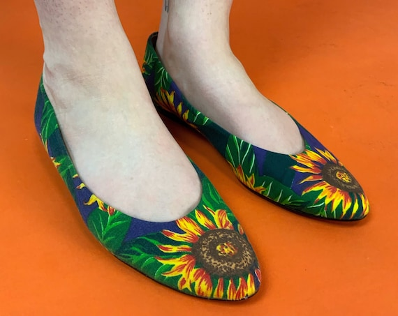 80's Sunflower Dressy Pointy Canvas Flats Womens US 8.5/9 - Vintage Never Worn Flat Heel Vintage Dressy Shoes - Pointy Toe Floral Shoes