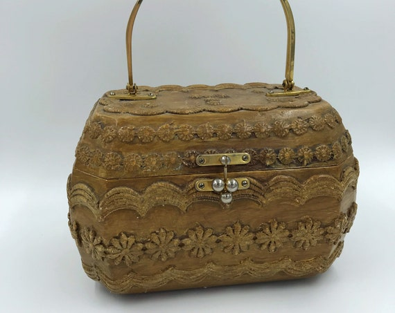 Vintage Hand Carved Wooden Box Purse - Yellow Gingham Lining Spring Handbag - Unique Handmade RARE True Vintage Wood Handbag Camel Brown