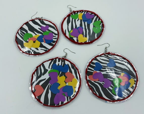 Handmade Clear Vinyl Hand Stitched FUNKY Statement Earrings - Big Round Hoops Mixed Media Dangly Punk Grunge Party Jewelry - DIY Valentines