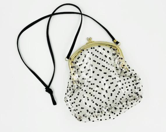 80's Clear Polkadot Purse - Vintage Retro Cute Girly PVC Black Polkadot Shoulder Bag - Long Strap See Through Bag Transparent Pocketbook