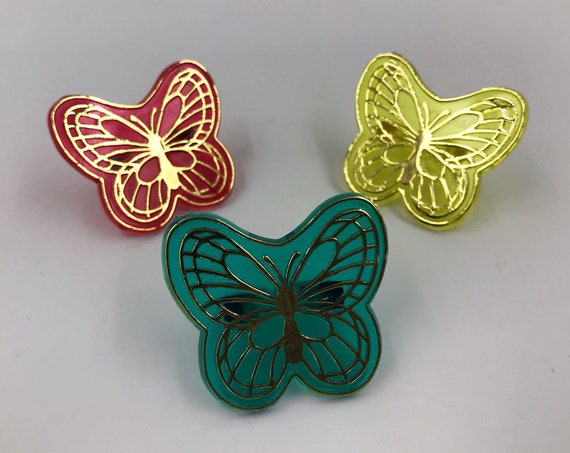 Butterfly RINGS 3 Pack Big Plastic Butterflies - Big Clear One Size Fit Vintage Accessory Trendy Plastic Costume Rings Spring Jewelry Lot