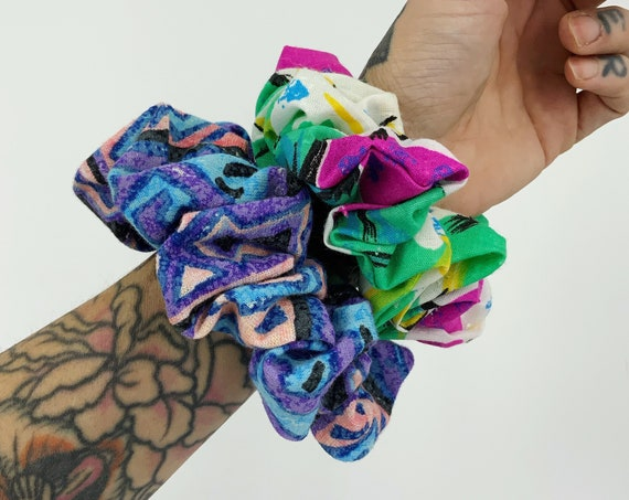 Handmade Hair Scrunchies 2 Pack - 80s/90s Recycled BIG Unique Scrunchies - Mixed Prints Funky Colorful Upcycled Unique Big Hair Scrunchies