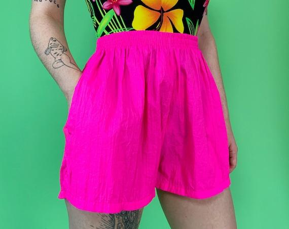 90's NEON Pink Nylon Windbreaker Shorts Medium - Basic Everyday Nineties Vintage Cool Summer Beach Wear - High Waist Elastic Sporty Shorts