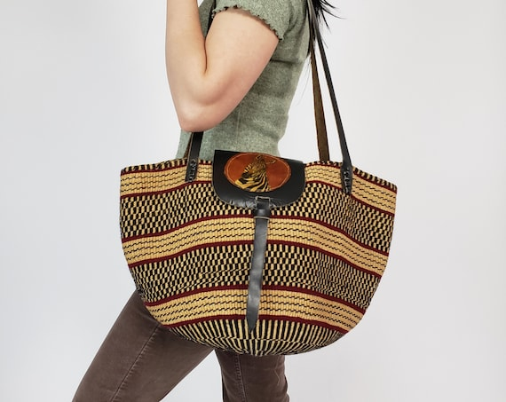 BOHO Woven Vintage Purse - Striped Textured Tote Bag - Natural Brown Purse with Leather Zebra Detail - Woven Sisal Market Tote Basket Bag