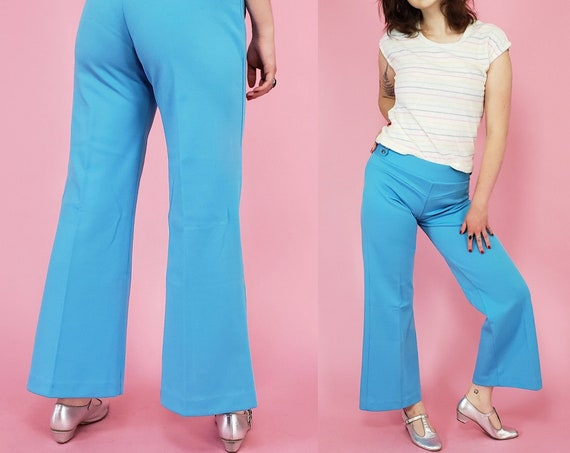 70s Vintage Mid Rise Wide Leg Pants - Medium Light Blue Flare Front Seam RETRO Polyester Trousers - size 8 Womens Robins Egg Blue Pants
