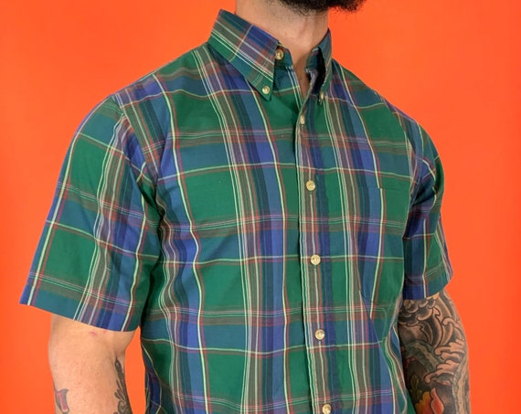 80s Mens Plaid Short Sleeve Casual Summer Button Up Large - Retro Lightweight Green Blue Cool Cotton Short Sleeve Top w/ Button Down Collar