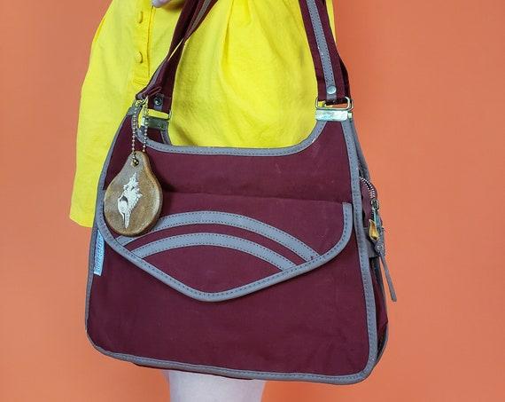 70's Vintage Canvas Purse Bag - Burgundy Dark Red Shoulder Bag - 1970s Vintage Women's Retro Handbag - Everyday Casual Maroon Purse