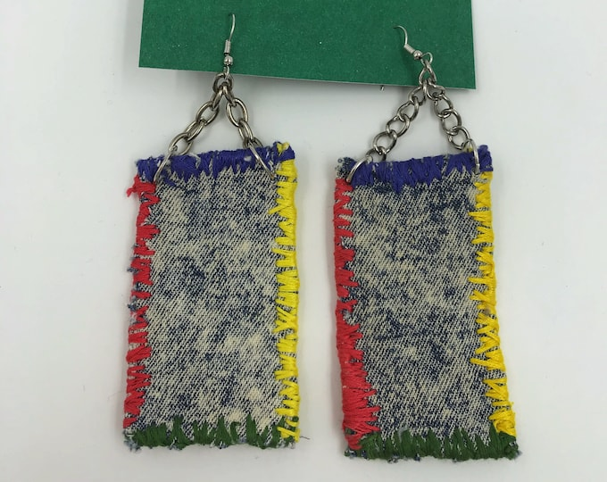 Handmade Hand Stitched Vintage Recycled/Upcycled Fabric Scrap Dangley Earrings - Oversized Fun Rainbow Denim Punk Grunge Statement Earrings