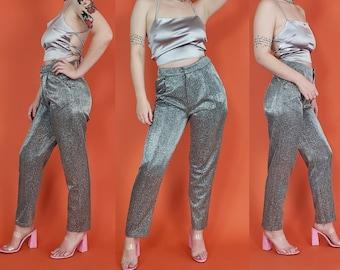 60/% BIG XMAS SALE Vintage 1990s Night Way Black Silver Glitter Thread Sparkly Shiny Stretch Pants Boot Cut Bottoms Trousers Sz Medium