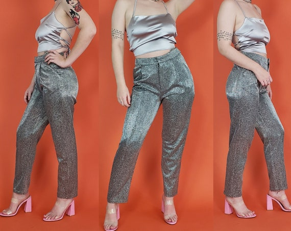 Retro Silver Sparkly Pants - Medium Womens Shiny Cyber Glam Trousers - High Waist Tapered Leg Trousers 29 Waist - Size 8 Womens Medium
