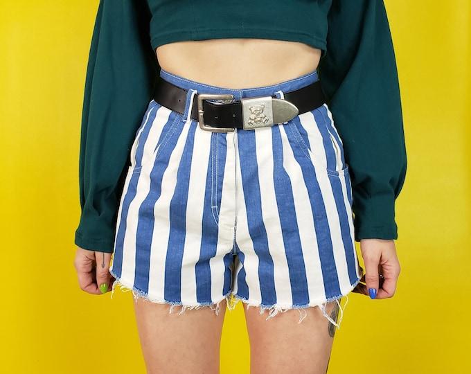 "90's High Waist Striped Jean Shorts - 27"" Highwaisted Cutoff Blue & White Stripe Shorts with Belt - Vintage Rare Cutoff Jean Shorts"