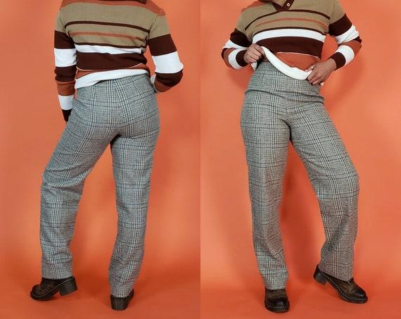 90s Retro Wool Plaid Pants - Medium Womens Tan Light Brown Plaid Pant - High Waist Check Pattern Straight Leg Trousers Size 8