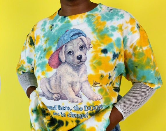 90's Tiedye Graphic Puppy Tee Unisex XL Vintage T-shirt - HAND DYED Colorful Unique Upcycled - Cute Dog Graphic Funny Saying Tie Dye Tee