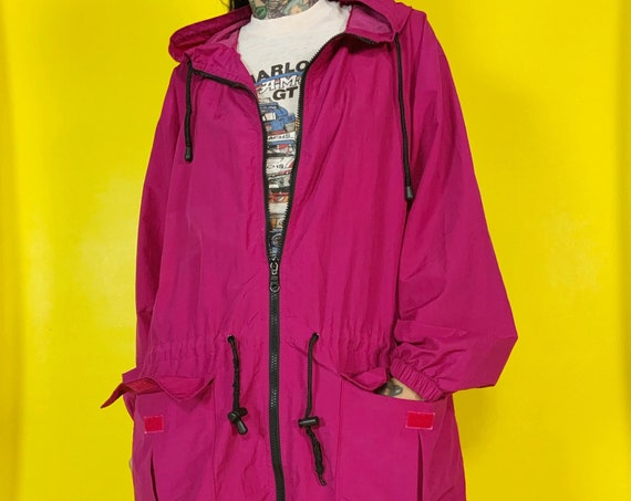 90's Hooded Windbreaker Rain Coat Women's Large - Vintage Casual Basic Magenta Lightweight Zip Up Baggy Drawstring Waist Casual Jacket